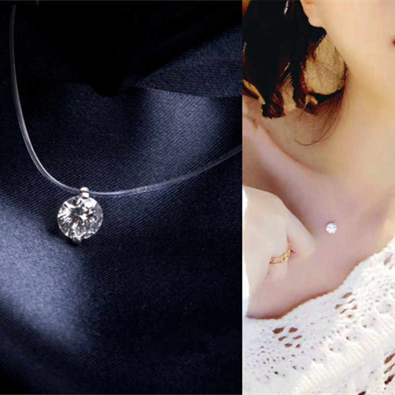 2017 Shine Zircon Necklace Invisible Transparent Fishing Line Short Chain Pendant Necklace for Women Jewelry Gift  CND162