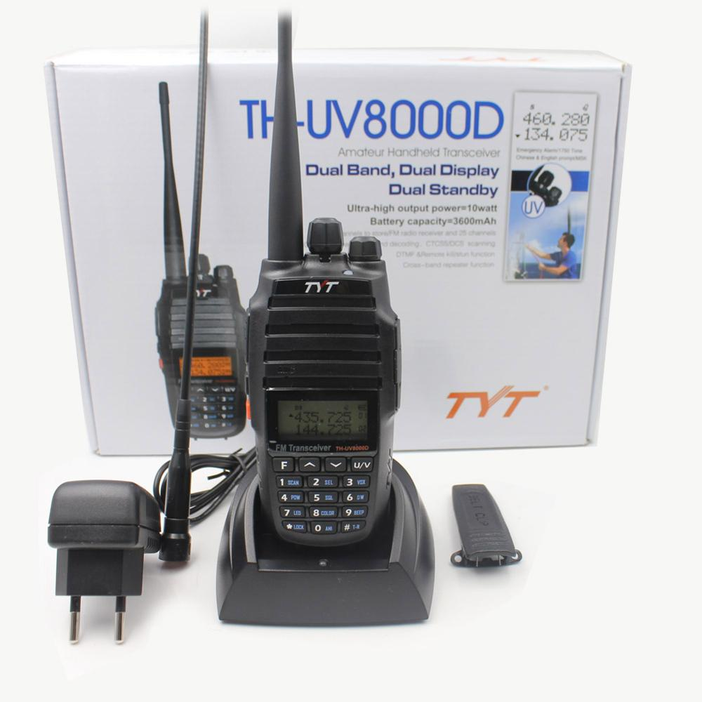 TYT TH-UV8000D Walkie Talkie 10W Dual band VHF 136-174MHz UHF 400-520MHz Handheld Ham Radio FM Transceiver Two Way Radio