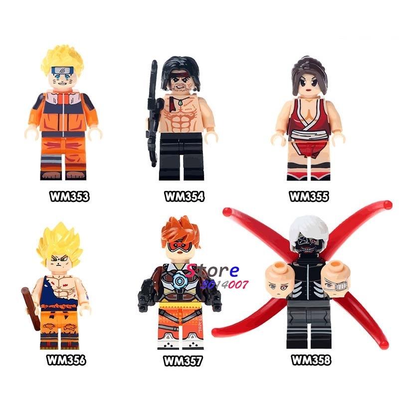 50pcs Uzumaki Stallone First Blood Rambo Mai Shiranui Son Goku Tracer Tokyo building blocks bricks friends hobby toys for boys-in Blocks from Toys & Hobbies    1
