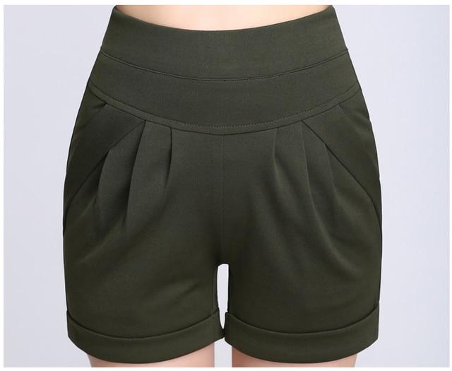 2016 women shorts summer chiffon loose cotton casual thin mid waist belt black&pink&white plus size S-4XL women shorts