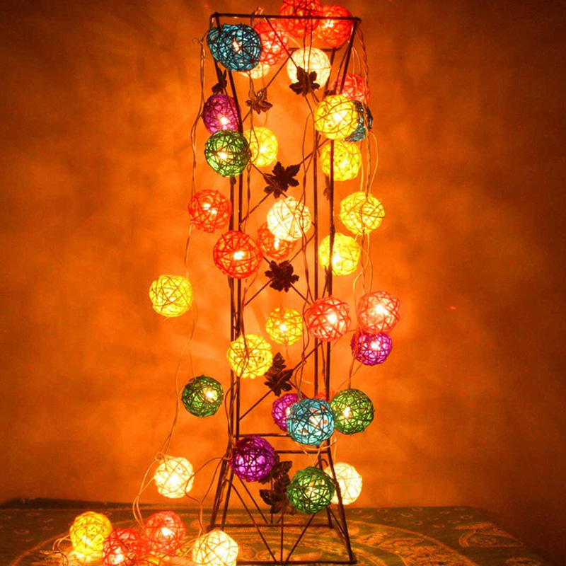 5m 20 Rattan Balls LED String Fairy Lights AC Plug Led Christmas Lights Garlands Guirlande Lumineuse Exterieur Wedding Home Decr