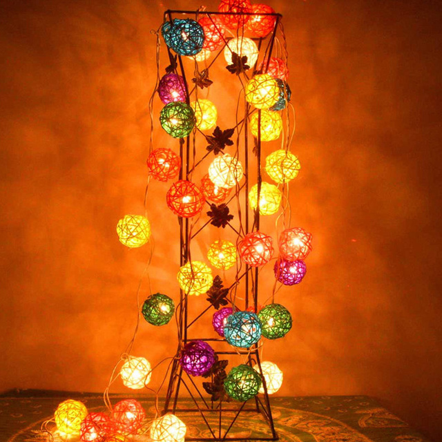 Battery Operated Garland Lights 20 Rattan Ball String Fairy Ac Plug Led Christmas Guirlande Lumineuse Exterieur