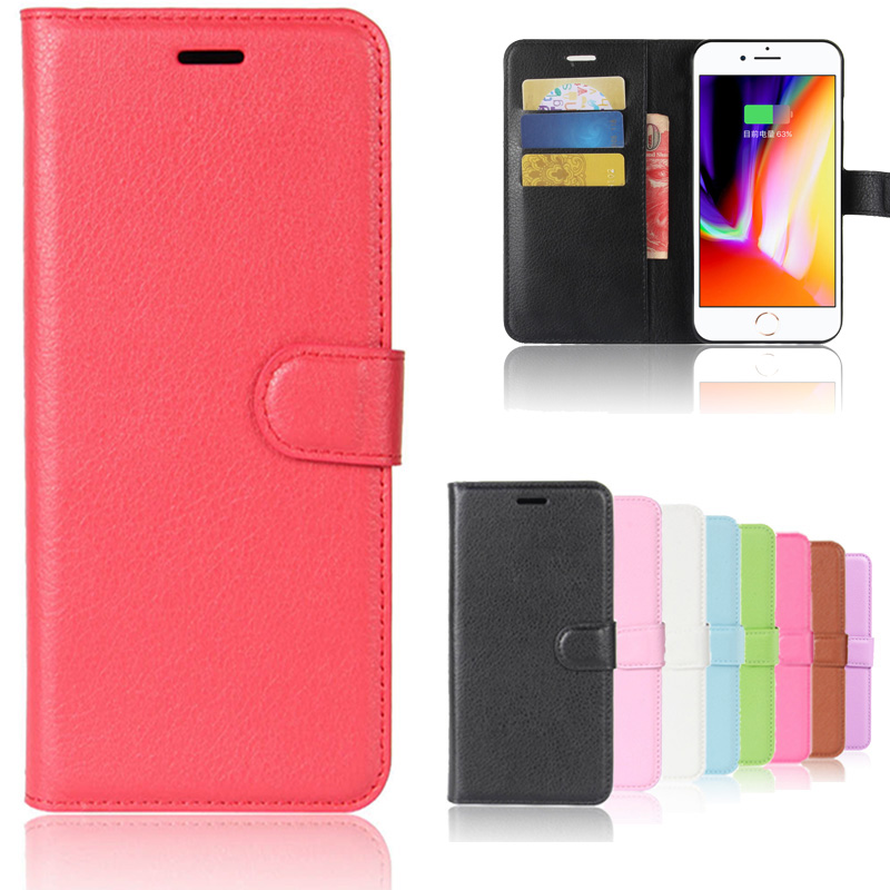 Case For iphone 8 plus PU Leather Flip Cover for iPhone 8 7 (4.7 ) & 8 Plus (5.5) Case Wallet Black with Card Slot Kickstand