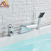 Quyanre Widespread Bathtub Waterfall Shower Faucet Hot Cold Water MixerTap Faucet Deck Mounted Tub Sink Faucet Bath Shower Tap