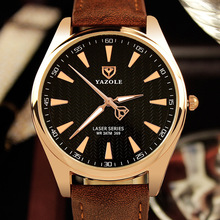 купить 2017 Men's Simple Business Watch Luxury Brand Famous Men Watches YAZOLE Quartz Watch Golden Wristwatch Relogio Masculino дешево
