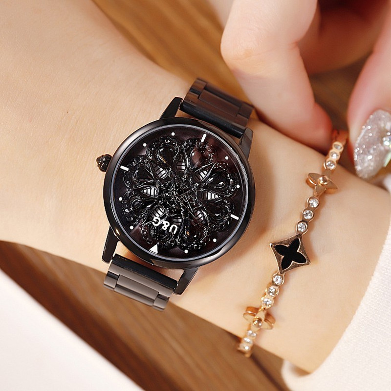 2019 New Fashion Women Watch Women Stainless Steel Wristwatches Lady Shining Rotation Dress Watches Big Diamond Stone Wristwatch diamond stylish watches for girls