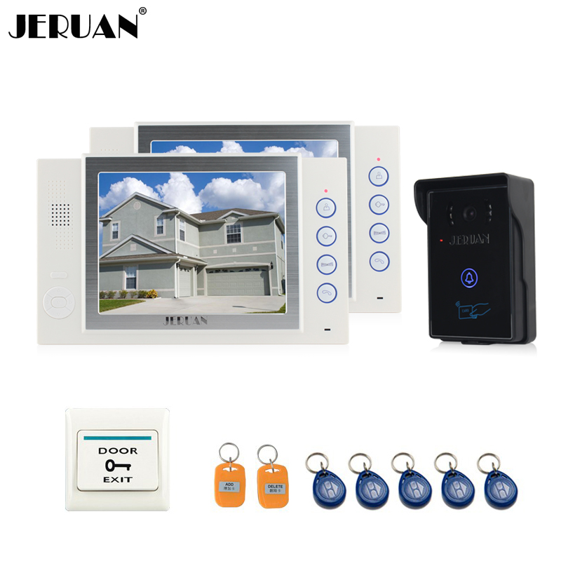 JERUAN 8`` LCD screen video door phone doorbell intercom system access control system 700TVL Camera video recording with 8GB SD jeruan black 8 lcd video door phone system 700tvt camera access control system cathode lock remote control 8gb card