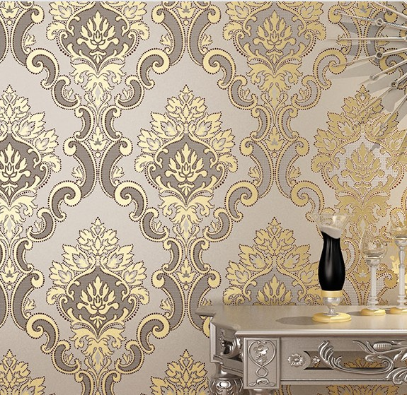 ФОТО 2016 new bestselling non-woven wall paper european-style wallpaper the sitting room TV setting wall Damascus bedroom warmth