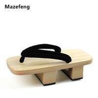 Mazefeng 2018 الصلبة كعب المتأرجح الرجال الرجال قباقيب خشبية النعال منصة الصنادل جيتا الياباني تأثيري أحذية الرجال جيتا السدادات