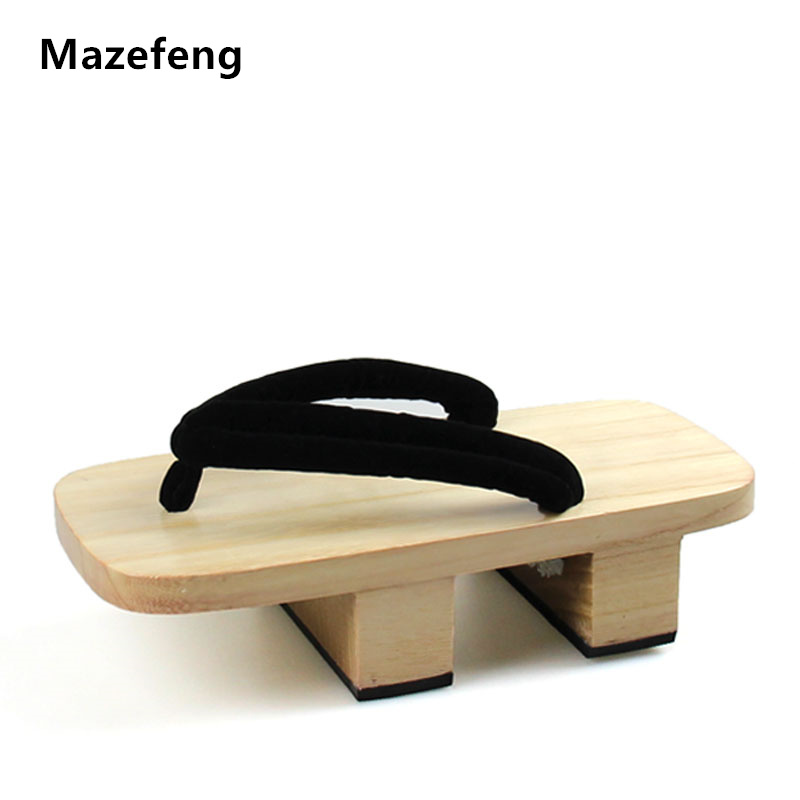 Mazefeng 2018 Solid Heel Flip-flops Men platform sandals Japanese Geta Clogs Wooden Men Slippers cosplay shoes Men Geta Clogs geta