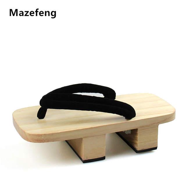 9e4c0db8503d7 Mazefeng 2018 Solid Heel Flip-flops Men platform sandals Japanese Geta  Clogs Wooden Men Slippers cosplay shoes Men Geta Clogs