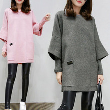 Women Fake Two Pieces Sweatershirt Winter Autumn Thick Tops Loose Pullover Plus Size TC21