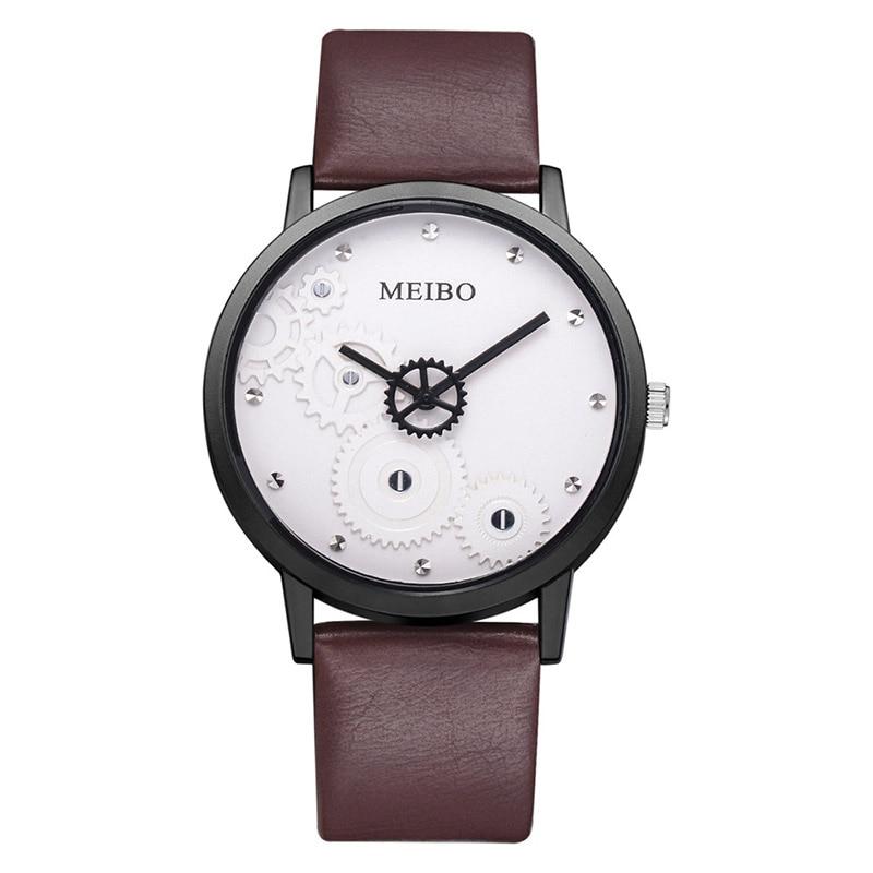 Hot Fashion Creative Watches Women Men Quartz-watch BGG Brand Gear Dial Design Minimalist Lovers' Watch Leather Wristwatches