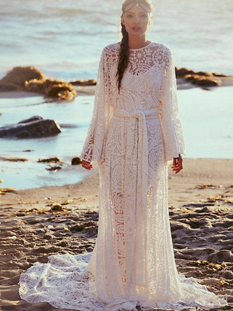Lace Beach Plus Size Wedding Dresses Long Sleeves Boho 2017 Vintage White Bohemian High Neck Neckline