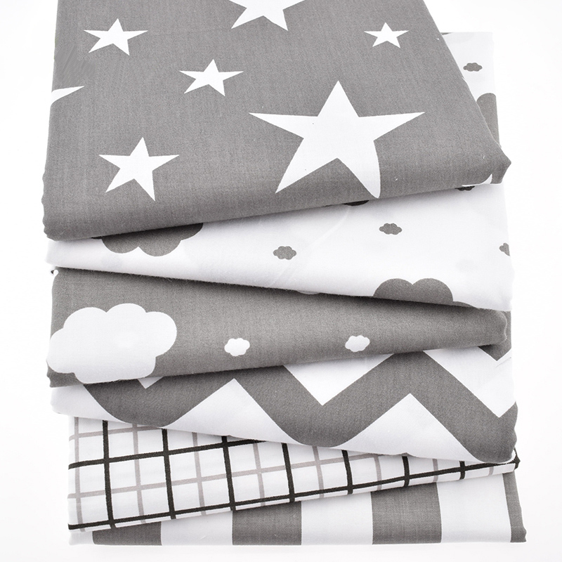 6pcs/Lot Print Twill Cotton Fabric For Sewing Doll Baby Bedding Clothes Dress Skirt Patchwork Cloud&Star Tissue Material 40x50cm
