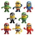 New Superhero (Glowing) small yellow people transfiguration spider-man toys goddess dad doll ornaments 8pcs/ sets