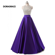 robe de soiree Glamorous Halter Backless Floor-Length A Line Beaded Prom Dress Long Evening Dresses DGE029