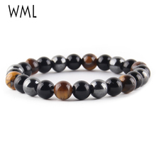 WML Tiger Eye & Hematite Black Obsidian 8mm Stone Bracelet Jewelry for women Gift Men