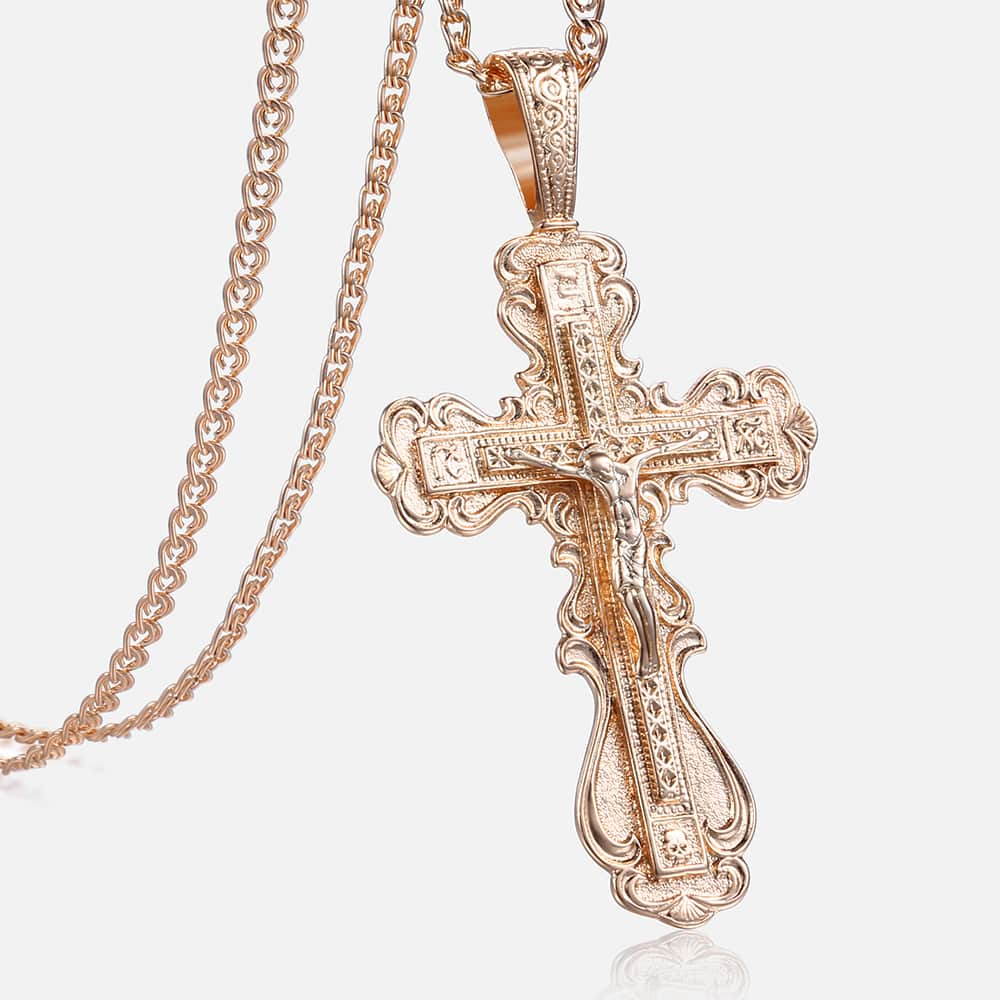 b7bf414dffbdc Davieslee Cross Pendant Necklace For Women Men CZ Crucifix 585 Rose Gold  Pendant Mens Woman Jewelry Dropshipping Gifts DGP172