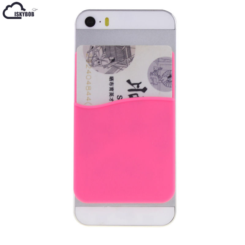 3M Adhesive Sticker Back Cover Card Holder Silicone Small Bus Card Case Pouch for iPhone Samsung Phone Credit Card Cash Pouch cute marshmallow style silicone back case for iphone 5 5s yellow white
