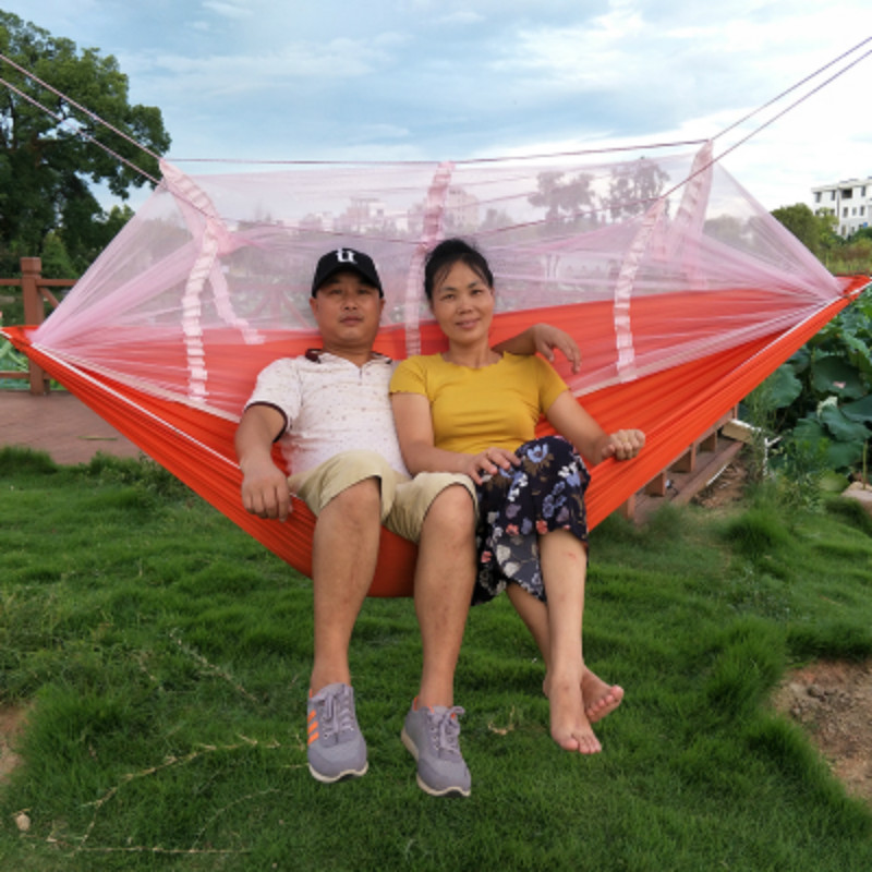 Outdoor Hammock with Mosquito Nets Single and Double Adult Indoor Thicker Anti-rollover Parachute Cloth Swing Hanging Chair 2 people portable parachute hammock outdoor survival camping hammocks garden leisure travel double hanging swing 2 6m 1 4m 3m 2m