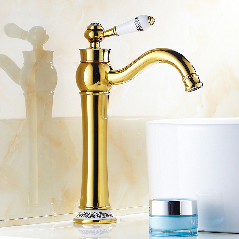 European retro gold plated water tap bathroom basin faucet hot and cold, Antique style Brass sink basin faucet mixer Wholesale bathroom sink basin faucet mixer water tap toilet wash basin faucet hot and cold brass single hole basin faucet chrome plated