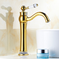 European retro gold plated water tap bathroom basin faucet hot and cold, Antique style Brass sink basin faucet mixer Wholesale