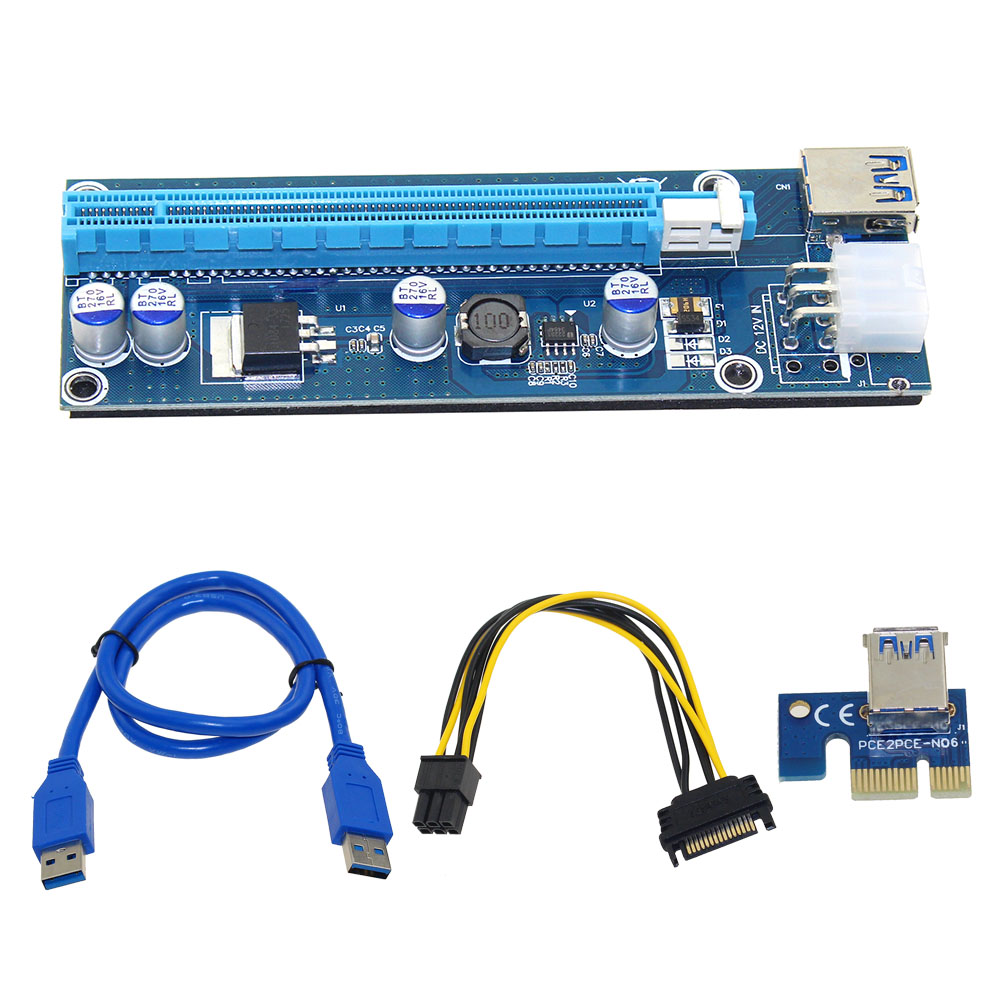 10pcs 006C Blue 1x to 16x PCI Express Riser Card PCI-E Extender 60cm USB 3.0 Cable SATA to 6Pin Power for BTC Miner Raiser Card wholesale usb 3 0 pci e express 1x 4x 8x 16x extender riser adapter card sata 15pin male to 6pin power cable 10pcs lot 006c page 7
