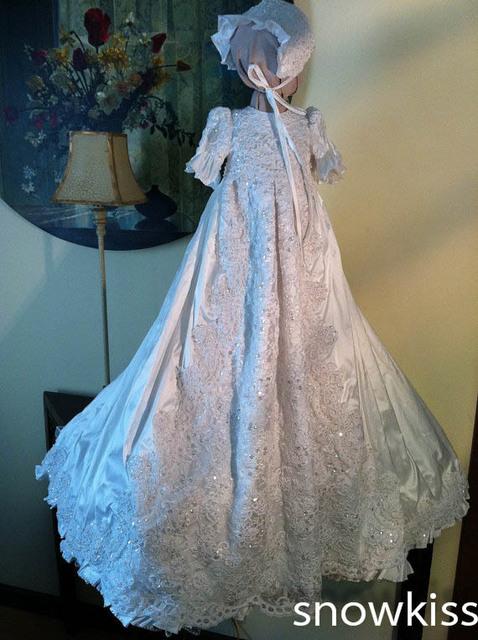 Perlas deslumbrantes cristales perlas blings blanco / marfil de encaje con capo del bebé del vestido de bautismo vestidos para niños y las muchachas de los vestidos