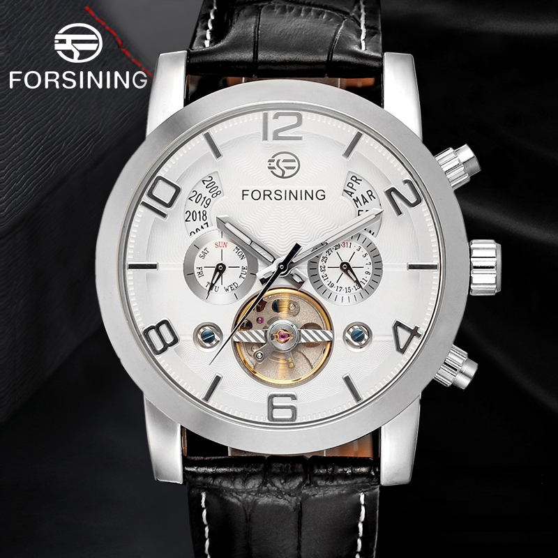 Forsining Men's Watch Simply Multifuction Automatic Watches Skeleton Genuine Leather Strap Mechanical Wristwatch Color White forsining men s watch vogue skeleton mechanical leather analog classic wristwatch color silver fsg8090m3