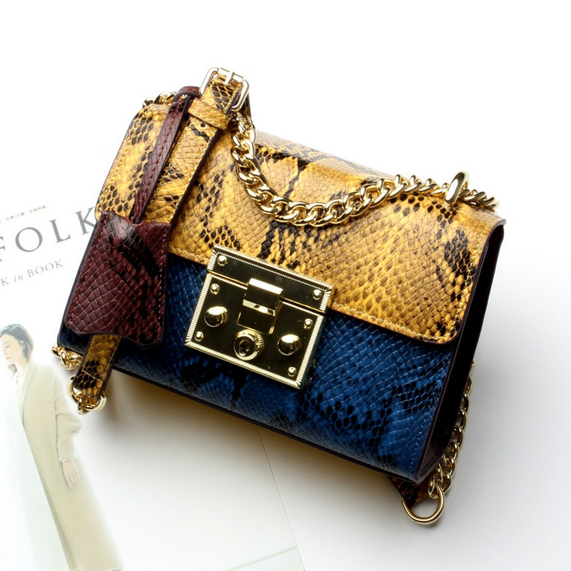 Serpentine Cow Leather Women Hit Color Flap Bag Female Fashion Stitching Shoulder Crossbody Bag Colourful Chain Lock Handbag denim vintage quilted across bag women s blue jean plaid stylish brand fashion flap chain crossbody shoulder bag purse handbag