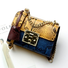 Serpentine Cow Leather Women Hit Color Flap Bag Female Fashion Stitching Shoulder Crossbody Bag Colourful Chain Lock Handbag