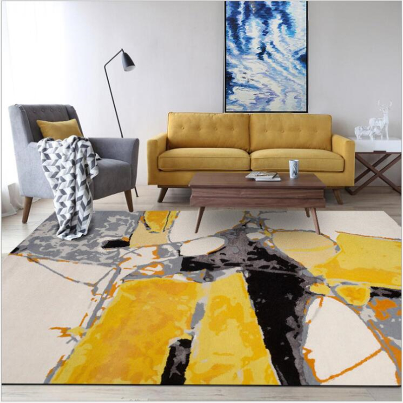 AOVOLL Fashion Modern Abstract Oil Painting Yellow Gray Carpet Bedroom Rugs For Living Room Kitchen Floor Mat Carpet Living Room