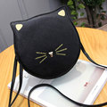 2016 new cute cat printing circular handbags hotsale women satchel women coin purse shoulder messenger crossbody bags