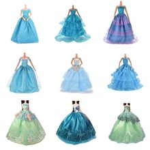 Green/Blue Lace Party Dress Evening Bubble skirt Clothing Outfit Accessories For 1/6 BJD for Doll Accessories Kids Gifts(China)