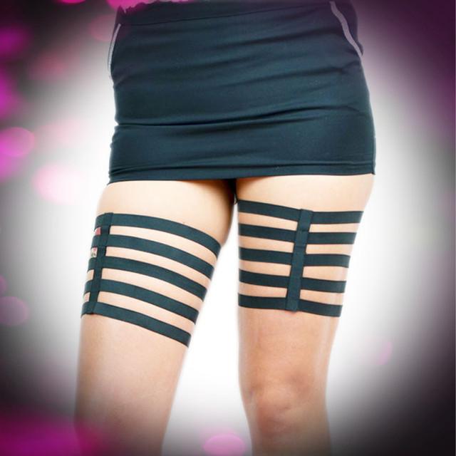 Goth Black Wedding Leg Garters Fetish Leg Harness Stockings Suspender Belt 90's Exotic Dancewear Thigh Bondage Harness P0021