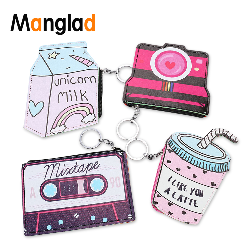 Manglad Funny Leather Wallet Women 3D Print Coin Purse Cute Camera Pattern Key chain Kawaii Keyring Small Money Bag Card Holder(China)