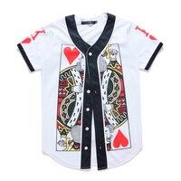 Poker Heart Baseball Jersey Shirt Men/Women Mens Buttons White Tops Tee Funny Casual 3D Print Hip Hop Harajuku Streetwear