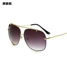 0e2e6c8133 HBK Pilot moda remache gafas de sol de gran tamaño para mujer gafas de sol  de aleación fuera gafas de marca diseñador dorado mar.