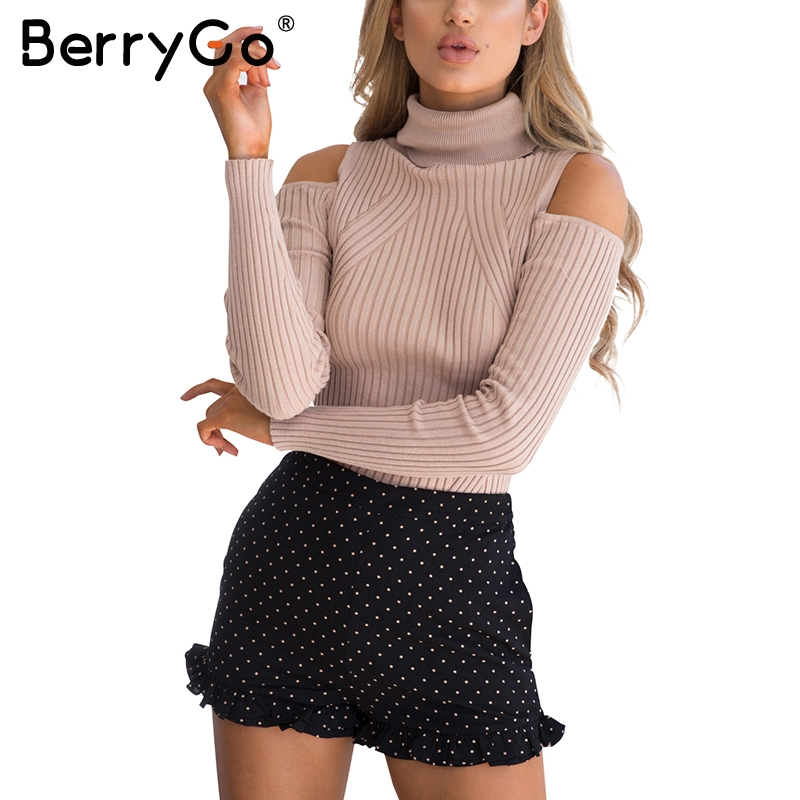 BerryGo Turtleneck Cold Shoulder Knitted Sweater Women Casual Cotton Streetwear Pullover Female Elegant Autumn Winter Jumper