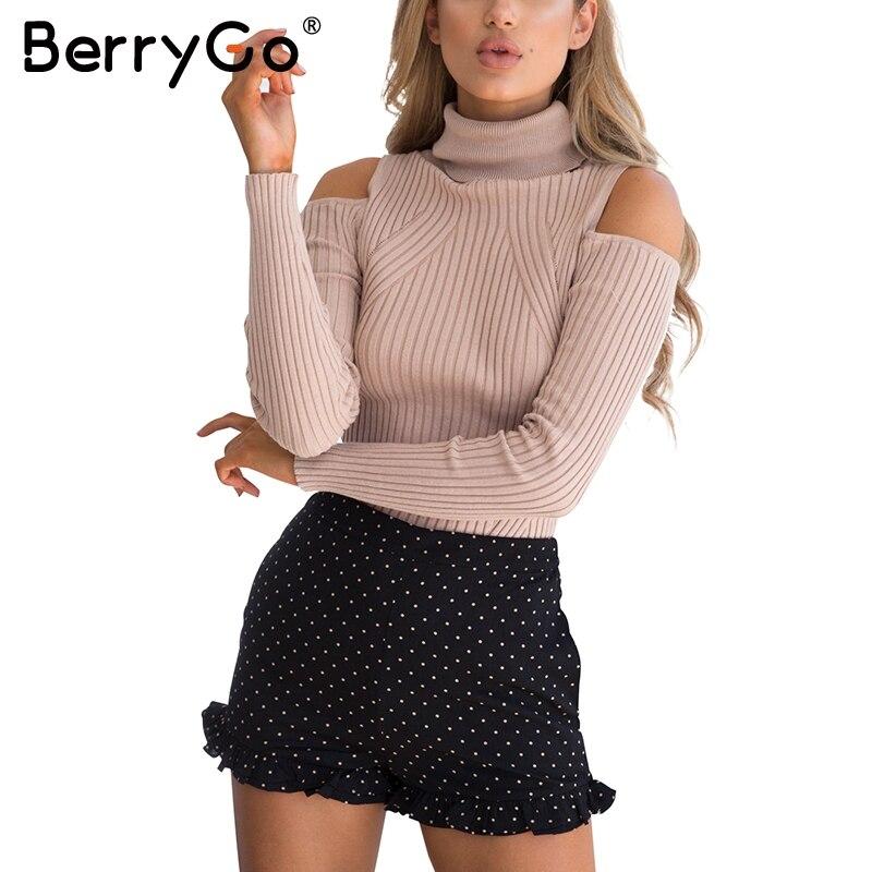 BerryGo Turtleneck frío hombro Rosa suéter mujeres casual algodón rayas hembra elegante Otoño Invierno puente