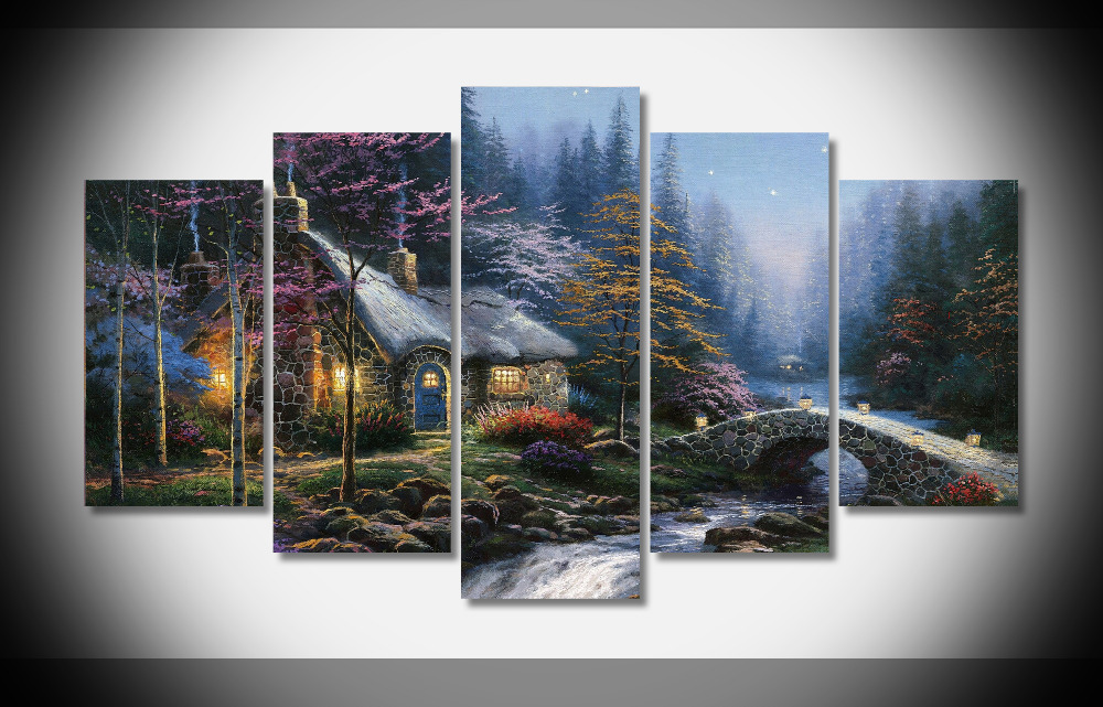 Strange 9945 Thomas Kinkade Twilight Cottage Oil Painting Print With Home Interior And Landscaping Ologienasavecom
