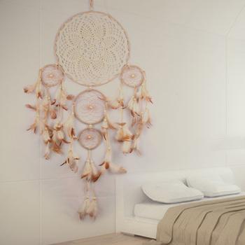 2018 nowy pięciopierścieniowy dzwonek wietrzny ozdoby kreatywny indyjski łapacz snów sypialnia salon dekoracji ściany wiszące ozdoby do domu tanie i dobre opinie lazyishhouse MASKOTKA Wikliny Europejska