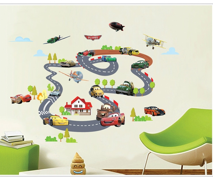 Aliexpresscom Buy Funny Boys Cars Channel Wall Stickers Decals - Boys car wallpaper designs