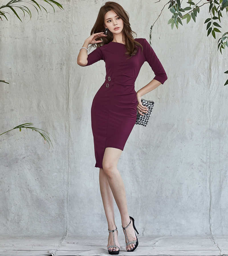 d9b4e22abb662 BGTEEVER Elegant Mid-length Sleeve V-neck Irregular Women Dress Slim Waist  Knee-length OL Dress Casual vestidos femme 2018