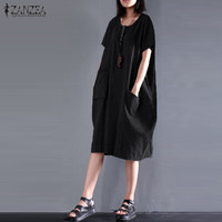 ZANZEA 2017 Summer Women Fashion Short Sleeve Striped Shirt Dresses Newest Crew Neck Cotton Linen Elegant