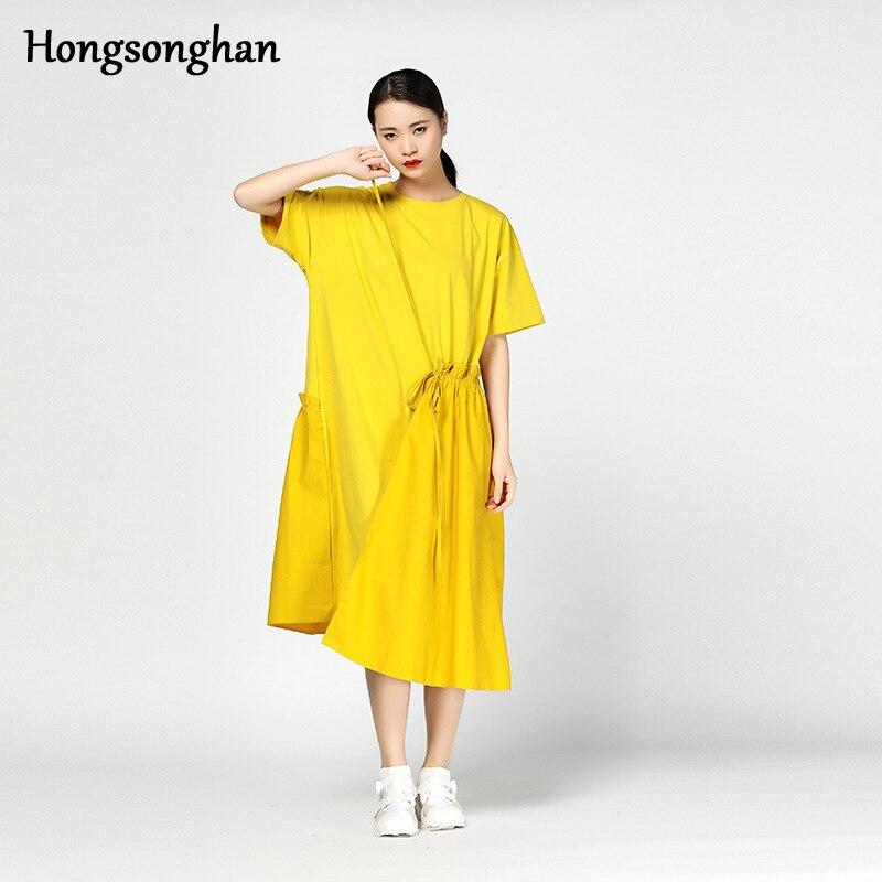 Hongsonghan Vestito In Vita Il Versione Coreana A Legno Orecchio Collo Elastico Personalità Impiombato Increspature Colore Nero Solido Femminile O Pieghe Marea Di 7IF7qr