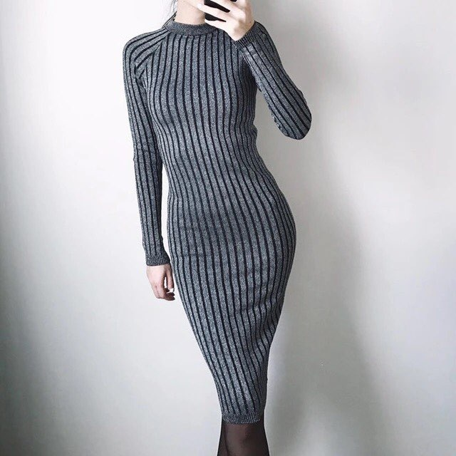 New Arrival 2018 Fashionable Long Sleeve Women Dress Slim Bodycon Knitted Sweater Knee-Length Party Dresses Vestidos Mujer