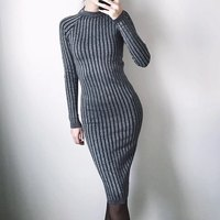 New Arrival 2017 Fashionable Long Sleeve Women Dress Slim Bodycon Knitted Sweater Knee Length Party Dresses