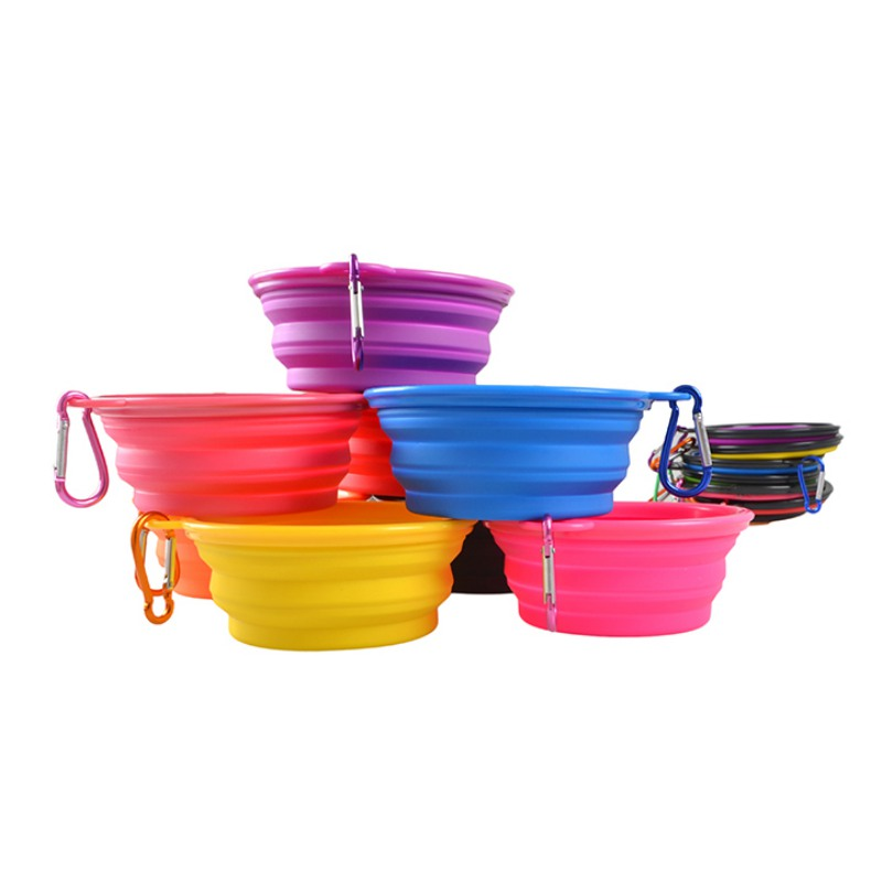 Dog Bowl, Dog Cat Pet Travel Bowl Silikone Foldbare Foder Vand Skål - Pet produkter - Foto 3
